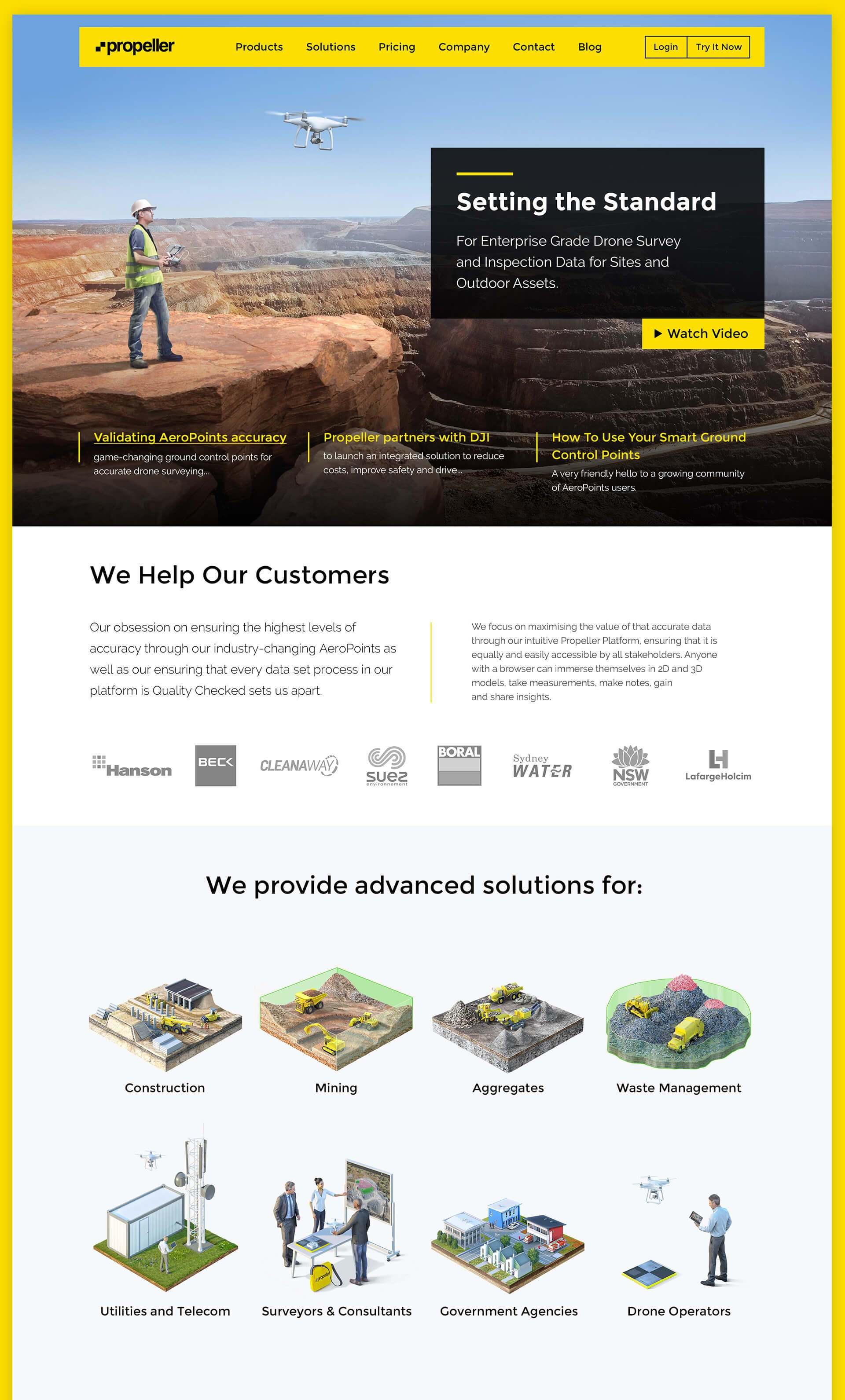 Дизайн головної сторінки сайту компанії Propeller Aero
