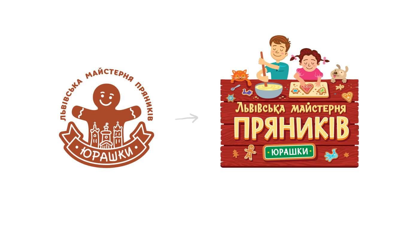 Старий та новий логотипи Львівської Майстерні Пряників «Юрашки»
