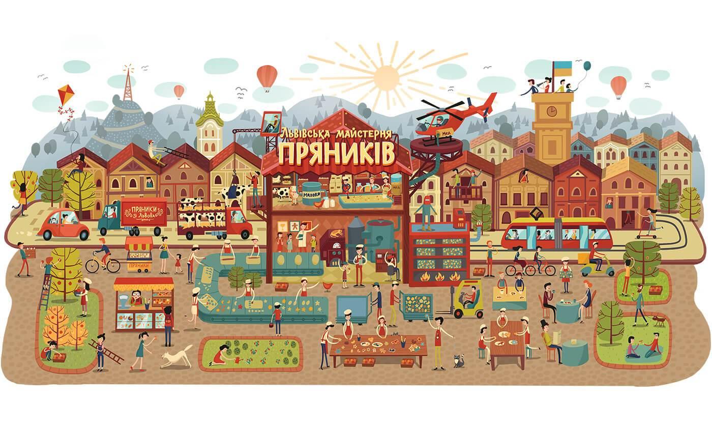 Велика ілюстрація Львівської Майстерні Пряників «Юрашки»