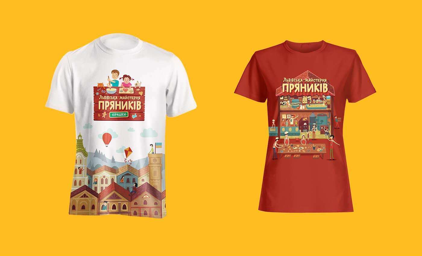 Подарункові футболки Львівської Майстерні Пряників «Юрашки» з ілюстраціями