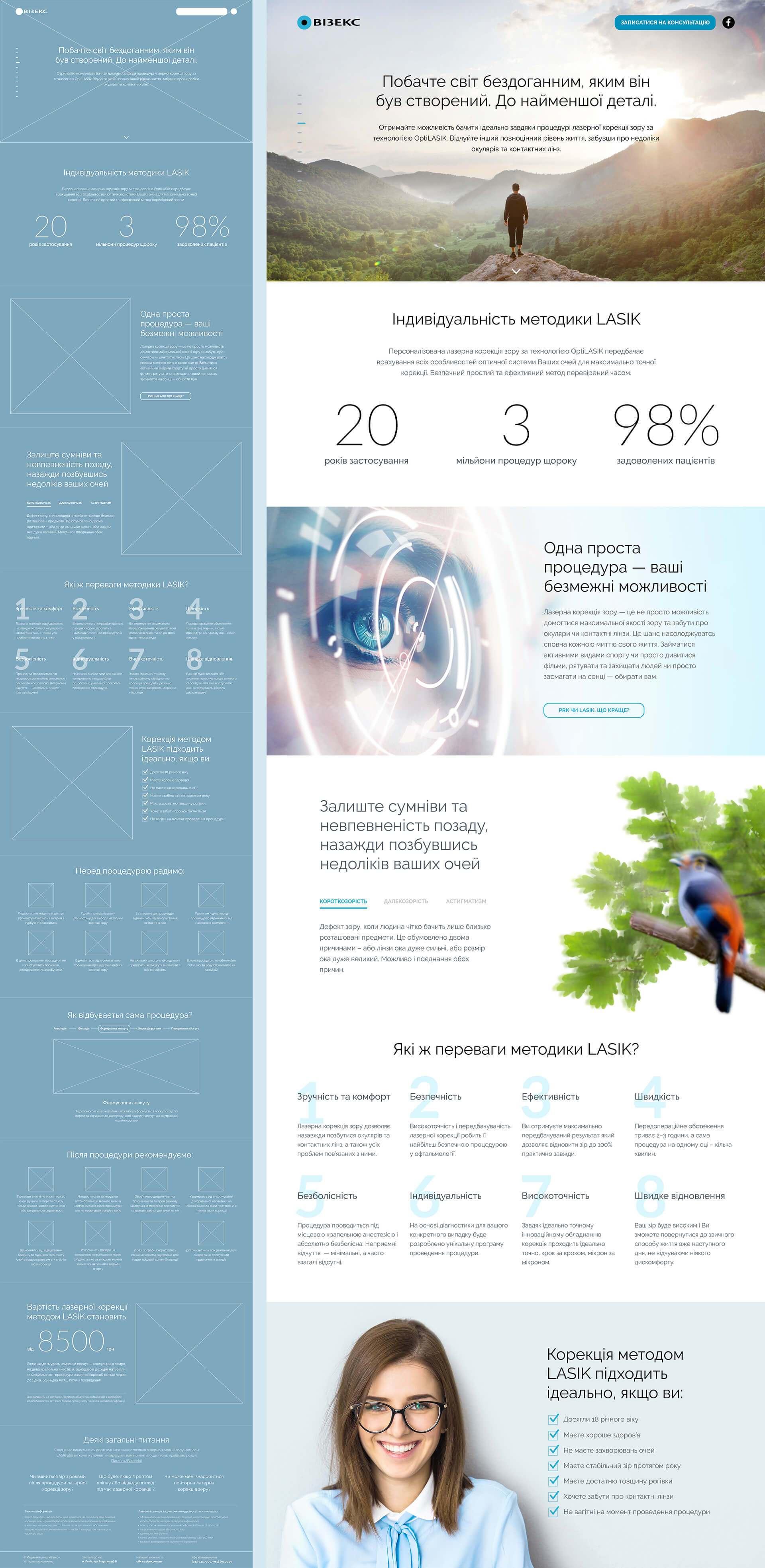 Прототип та оригінал макет промо-сайту лазерної корекції зору медичного  центру «Візекс» fbf613a435e34