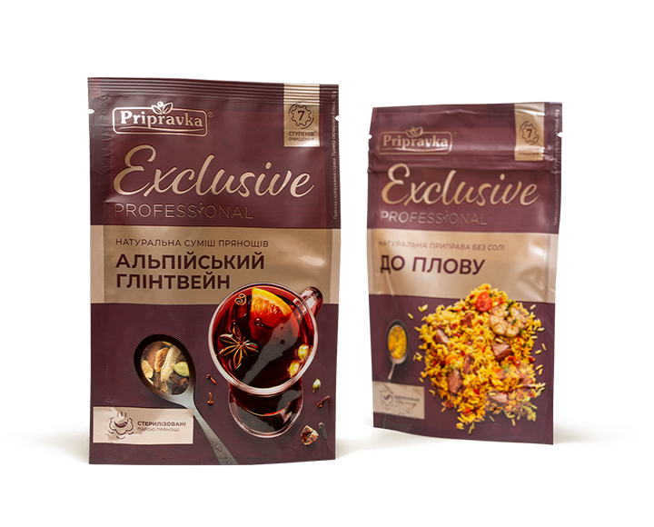 Photo of two packages of «Exclusive Professional» seasonings for mulled wine and pilaf