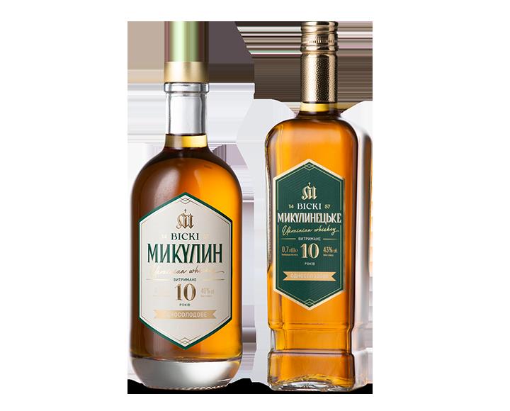 Photo of the bottles of Mykulyn whiskey